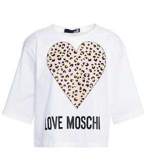 LOVE MOSCHINO Cropped Graphic Tee - Sz 8 NWT